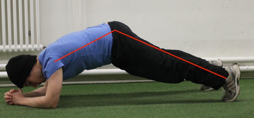 Hintern zu hoch bei Planks