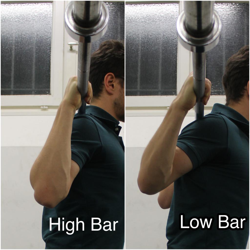 """high bar vs low bar armposition beschriftet 1024x1024 - Langhantel Kniebeugen (""""Squats"""") richtig ausführen: Technik Anleitung"""