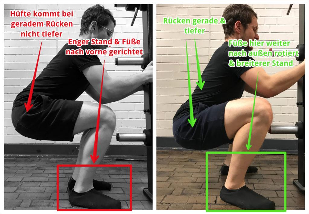 Richtigen Stand für die Kniebeuge finden – zu eng vs. korrekte Breite beschriftet