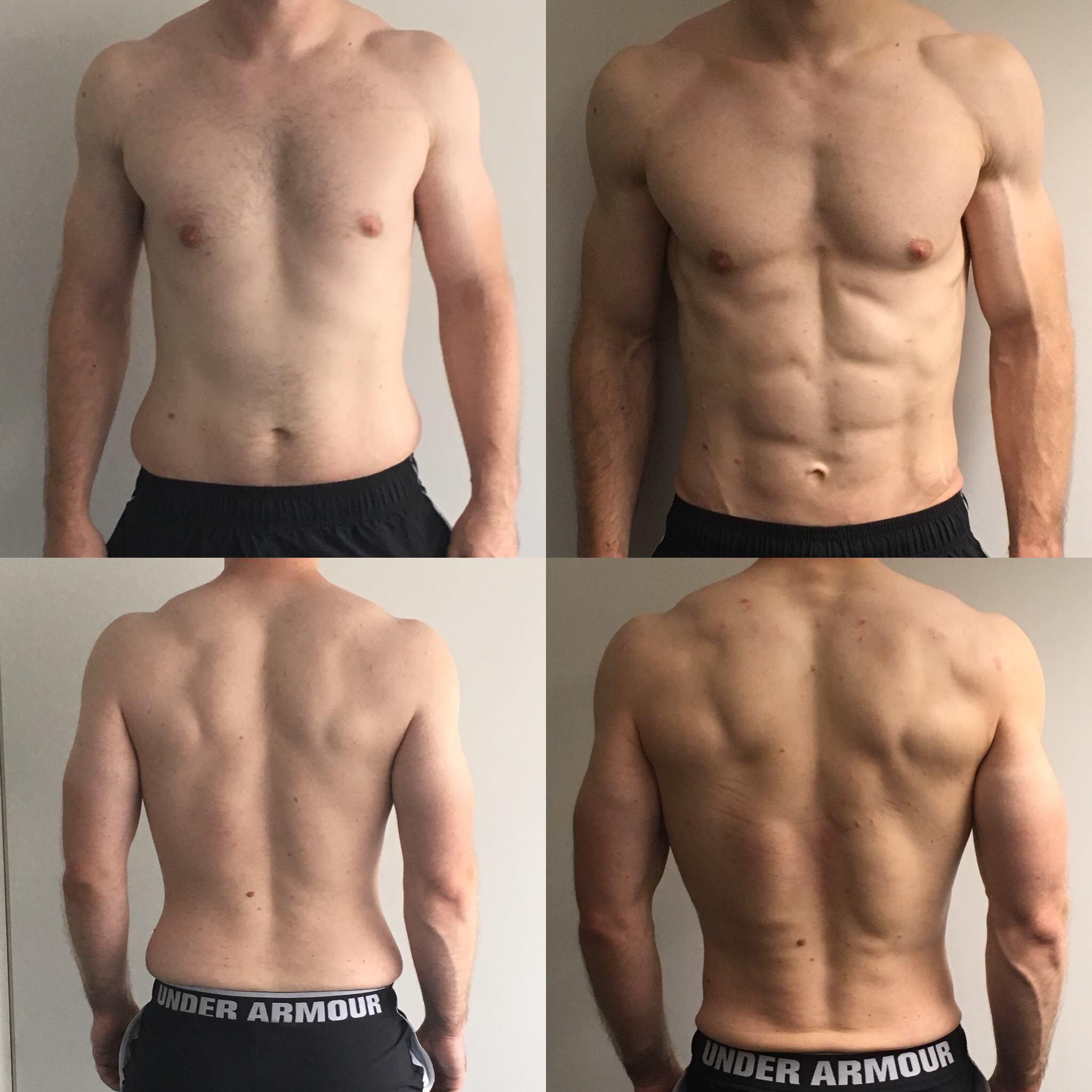 Körperfettanteil reduziert beim Mann drastischer optischer Unterschied